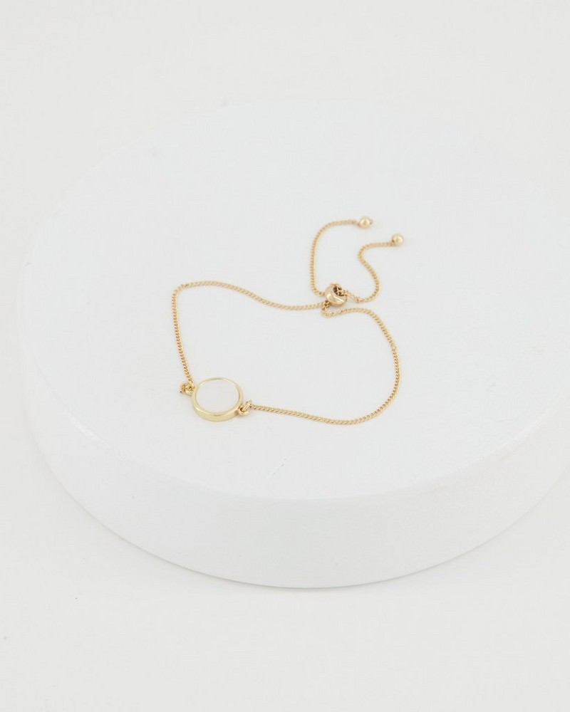 Adjustable Shell Bracelet -  gold