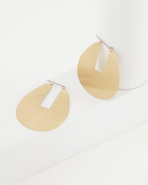 Oversized Teardrop Disk Earrings -  gold