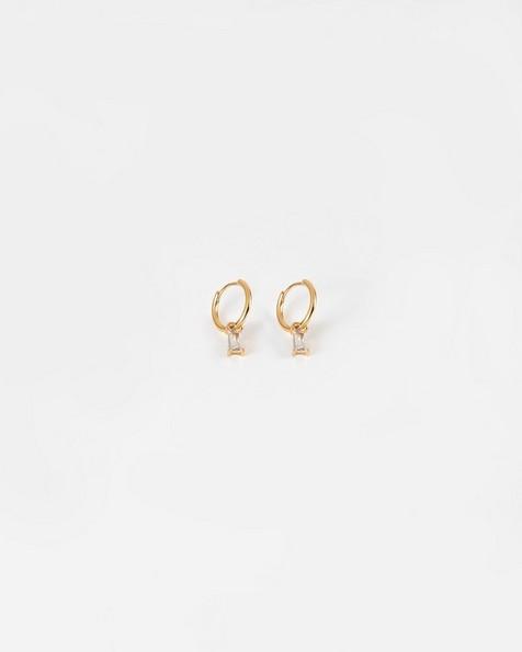Baguette Stone Hoop Drop Earrings -  gold