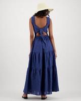 Tulip Interest Maxi Dress -  indigo