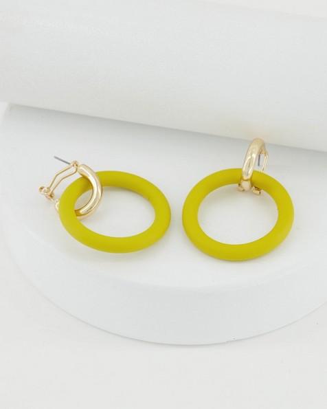 Yellow Epoxy Ring Drop Earrings -  yellow