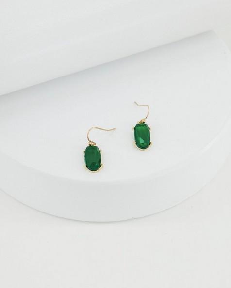 Oval Drop Earrings -  emerald