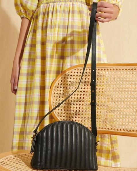Laura Half Moon Crossbody Bag -  black