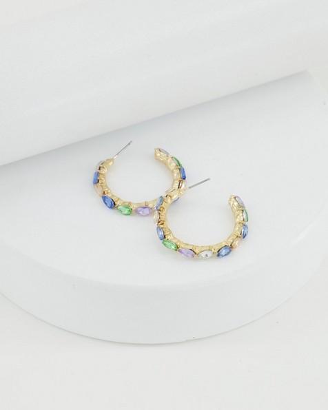 Teardrop Paved Hoop Earrings -  blue