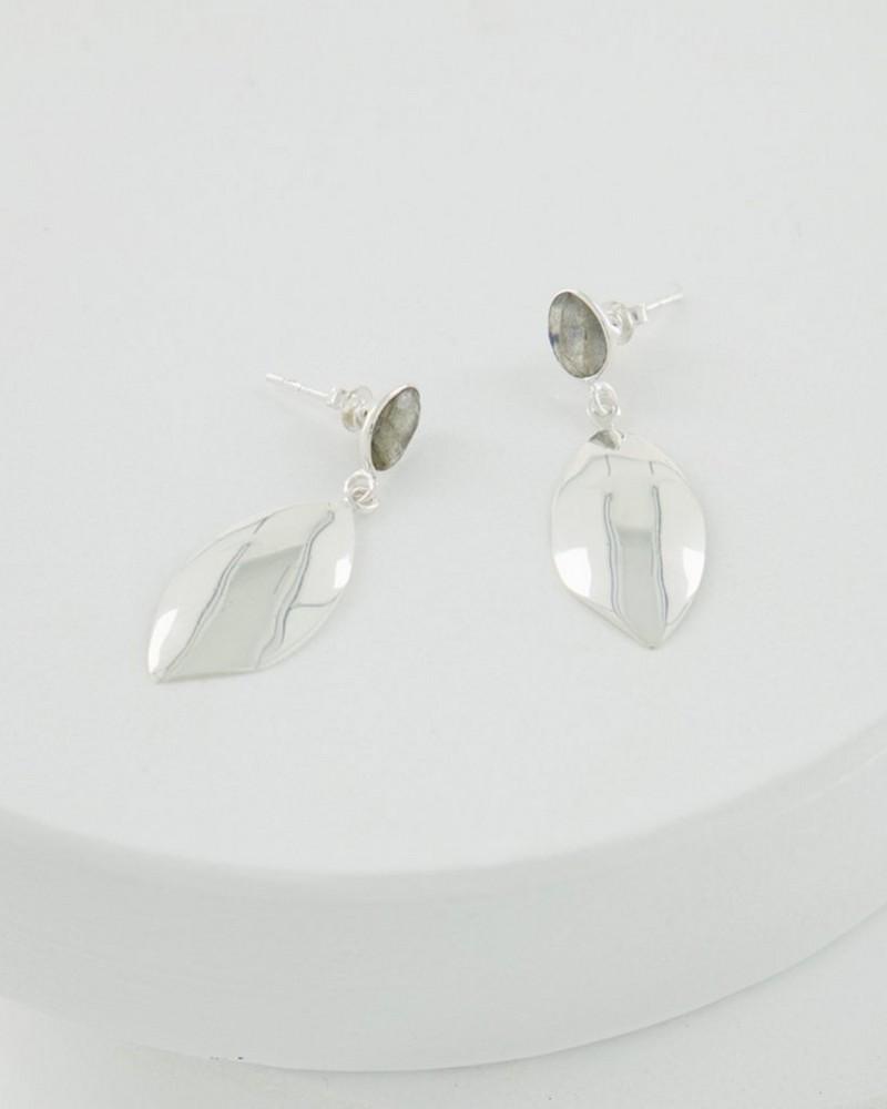 Labradorite Leaf Drop Earrings -  lightgrey
