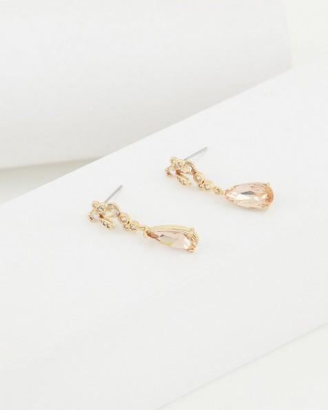 Teardrop & Bee Charm Drop Earrings -  yellow