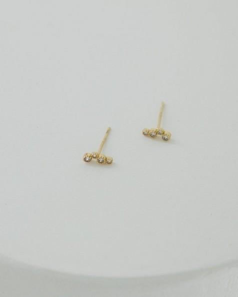 Cubic Zirconia & Sterling Silver Crawler Earrings -  gold