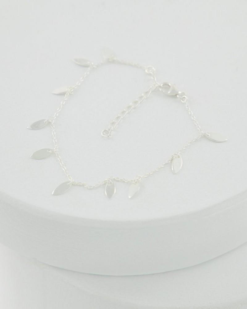 Leaf Charm Bracelet -  silver