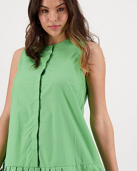 Zobia Poplin Dress -  lightgreen
