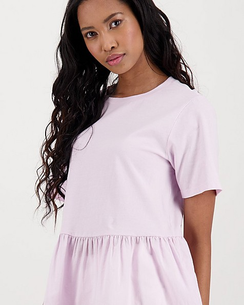 Poetry Amber Peplum Knit Top -  lilac