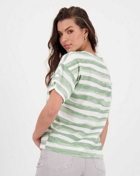 Maia Striped T-shirt -  sage
