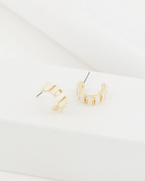 Rectangular Stone Huggie Hoop Earrings -  milk