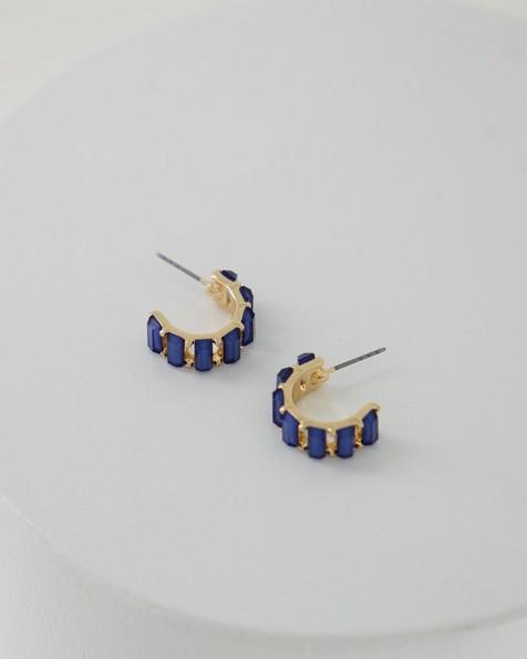 Rectangular Stone Huggie Hoop Earrings -  blue