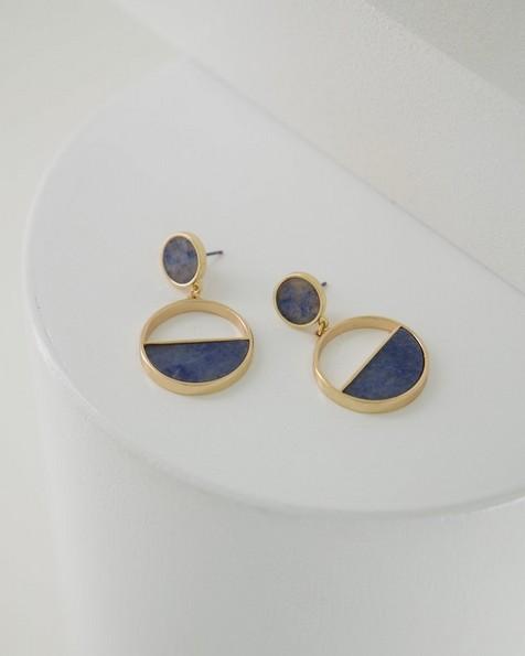 Circle Drop Earrings -  navy