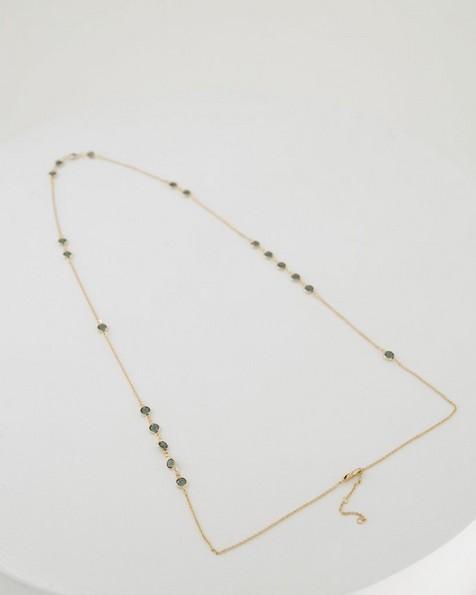 Disk Satellite Necklace -  grey