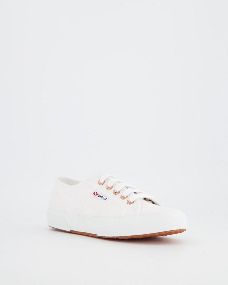 Superga Classic Gold Eyelets Canvas Sneaker -  white