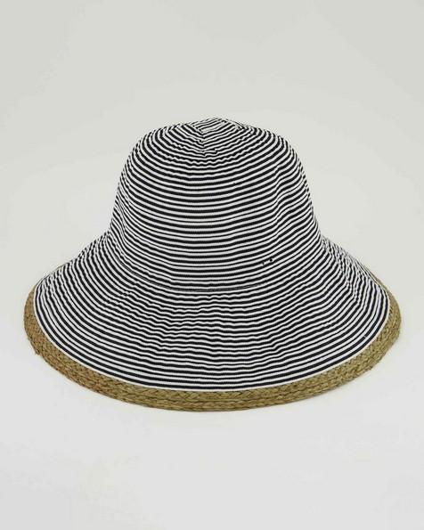 Addison Tape & Straw Bucket Hat  -  milk
