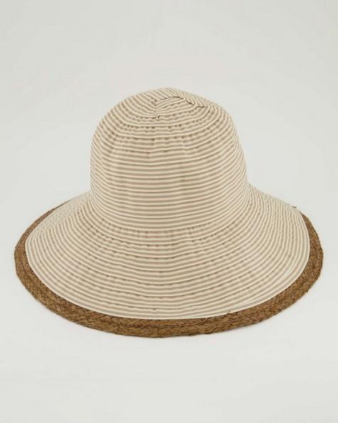 Addison Tape & Straw Bucket Hat  -  stone