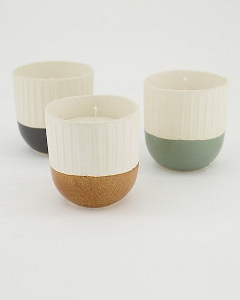 Small Ribbed &  Dipped Candle  -  graphite