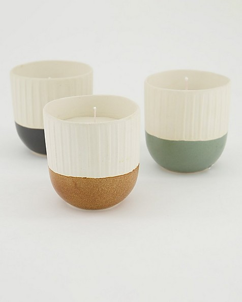 Small Ribbed &  Dipped Candle  -  yellow