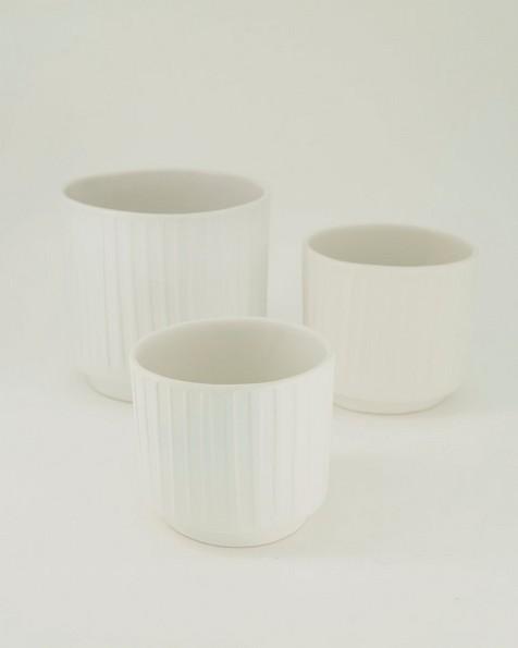 Pret-a-Pot Small Ribbed Planter -  milk