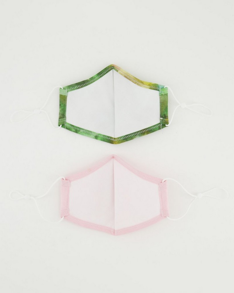 2-Pack Abstract Printed Fabric Face Masks -  green