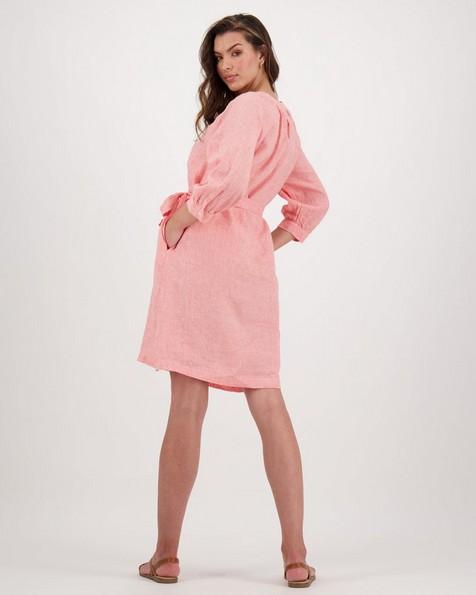 Peony Linen Dress -  coral