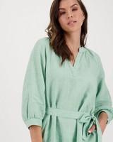 Peony Linen Dress -  green