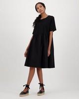 Andes Mixed Media Dress -  black