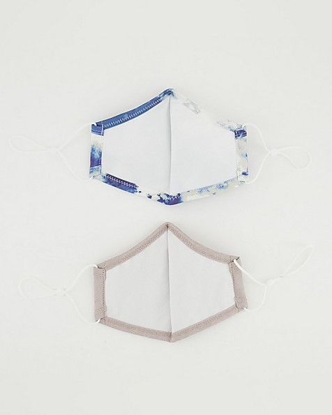 2-Pack Tie-Dye Fabric Face Masks -  blue