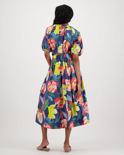 Lane Printed Dress -  navy