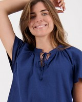 Sara Popover Top -  navy