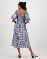 Tilly Check Dress -  blue