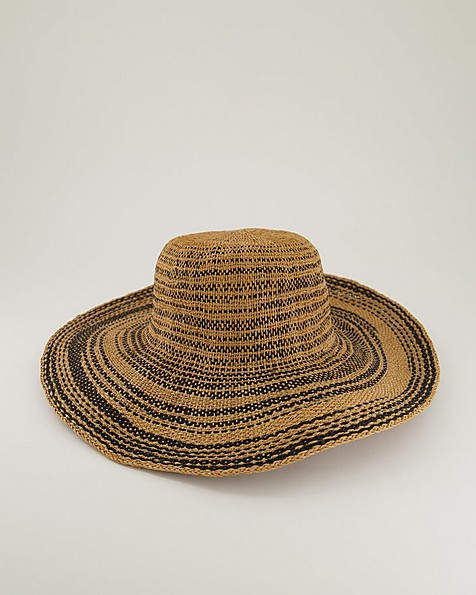 Annamari Striped Straw Sun Hat -  oatmeal