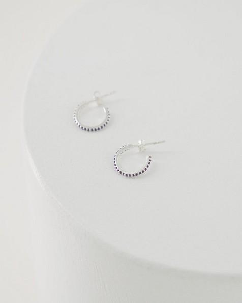 Amethyst Hoop Earrings -  silver