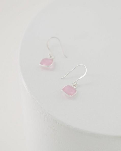 Silver & Rose Quartz Cushion Drop Earrings -  silver