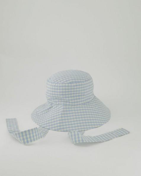 Maya Gingham Bucket Hat -  blue