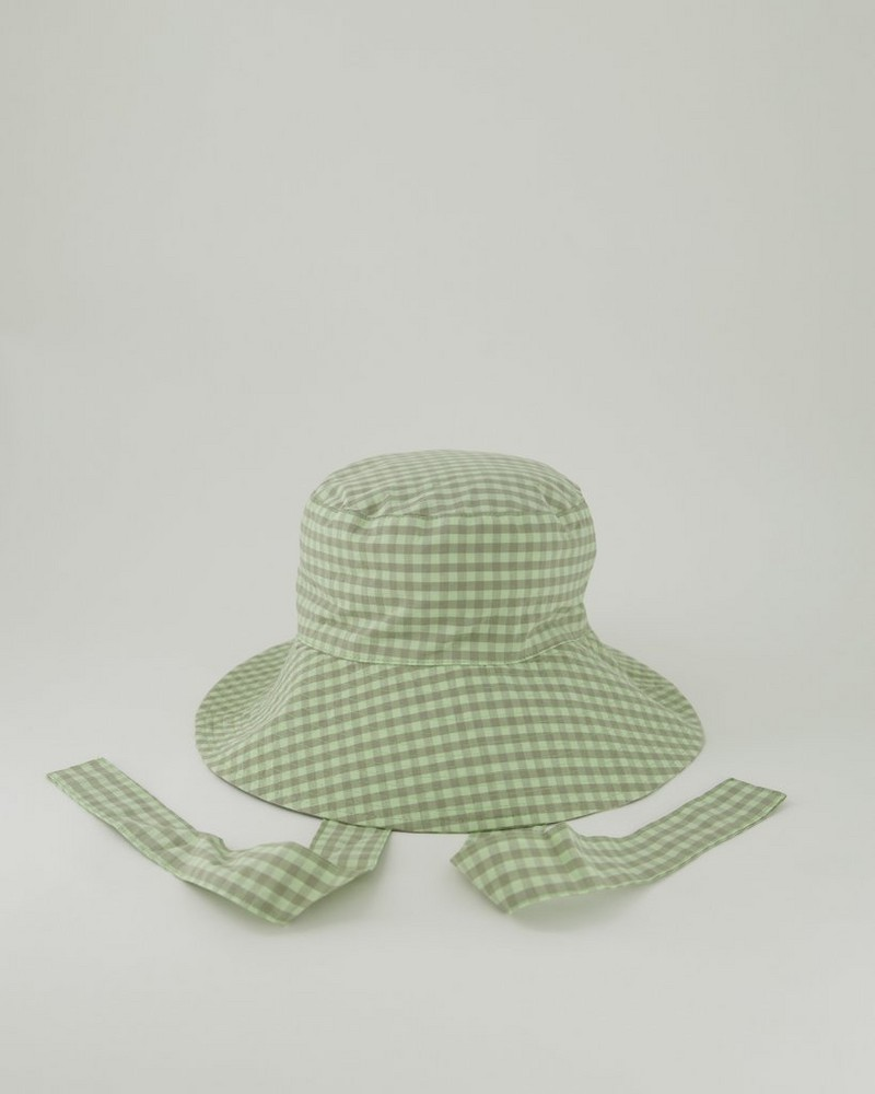 Maya Gingham Bucket Hat -  green