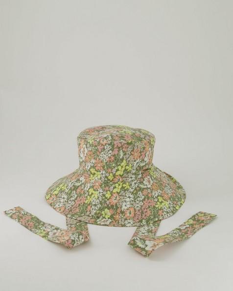 Small Maya Floral Printed Bucket Hat -  lightgreen