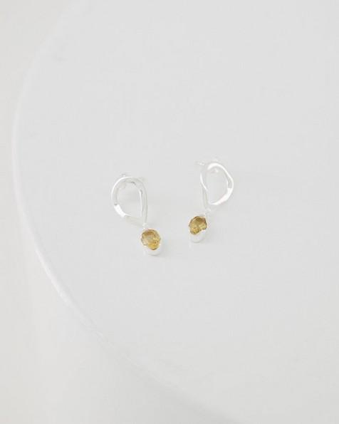 Citrine Oval Droplet Earrings -  silver