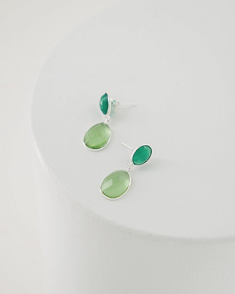 Green Onyx & Amethyst Drop Earrings -  silver
