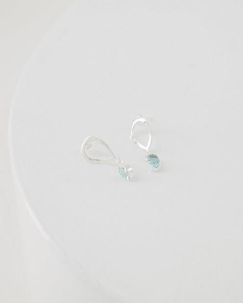 Blue Topaz Oval Droplet Earrings -  silver
