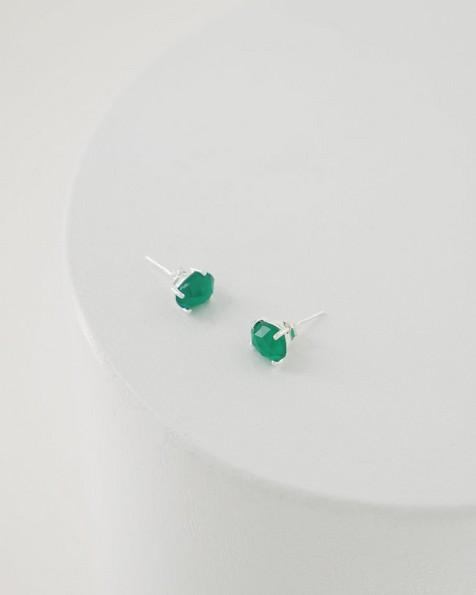Green Onyx Oval Stud Earrings -  silver