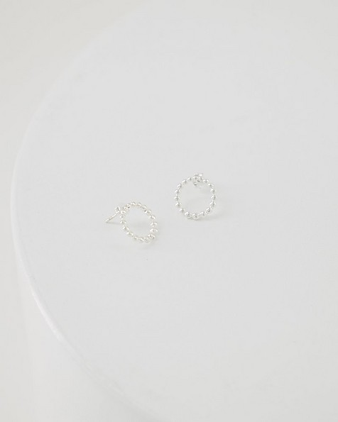 Silver Dotted Ring Stud Earrings -  silver