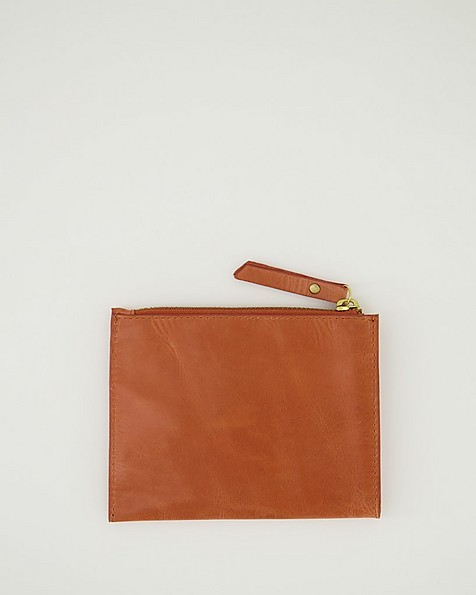 Marrian Plain Leather Pouch -  coral