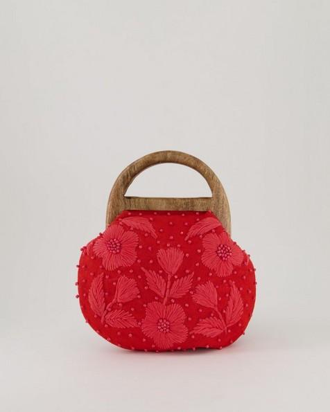 Siwa Embroidered Clutch Bag -  coral