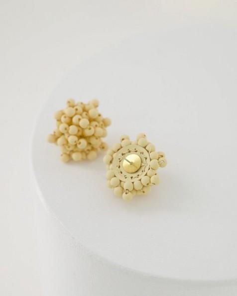Beaded Cluster Stud Earrings -  milk