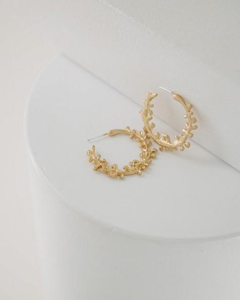 Delicate Leaf Hoop Earrings -  gold