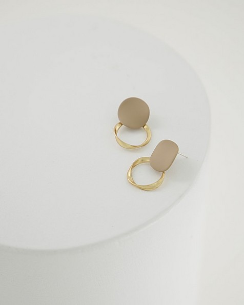 Twisted Disk Earrings -  taupe