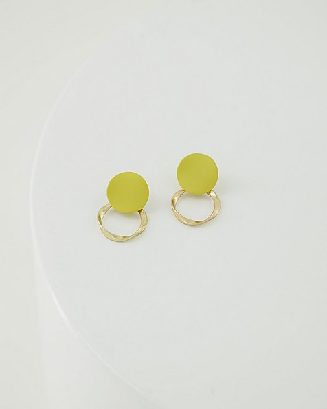 Twisted Disk Earrings -  yellow